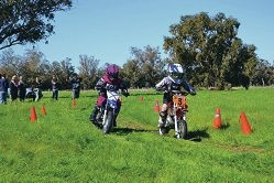 Mini motorcyclists tear up the track