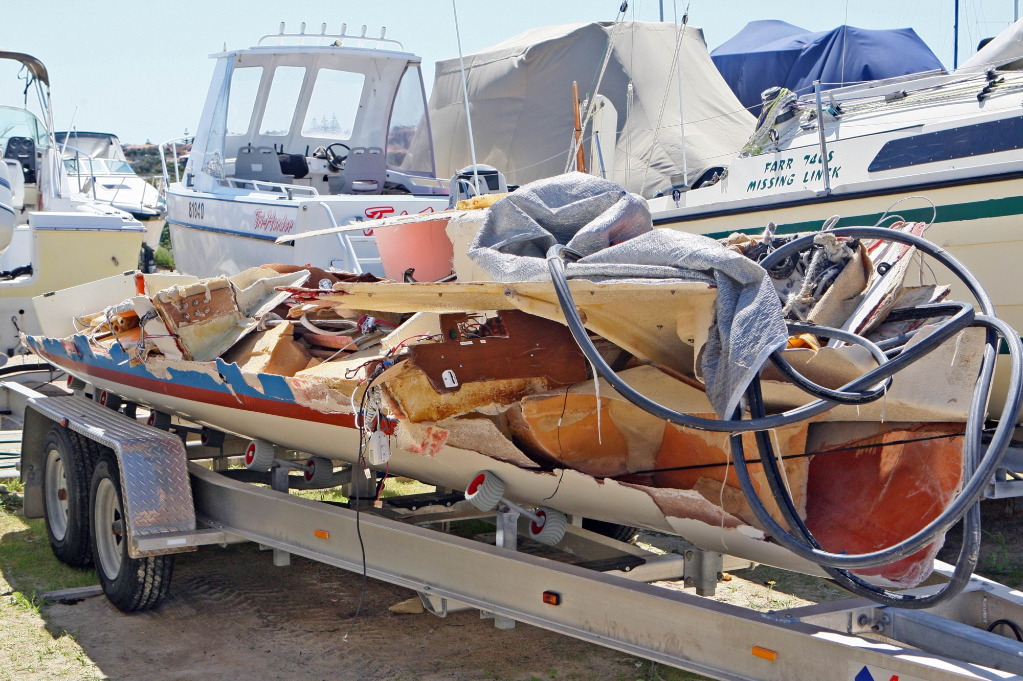 Safarri was smashed to pieces after capsizing as it entered Ocean Reef boat harbour on Saturday.