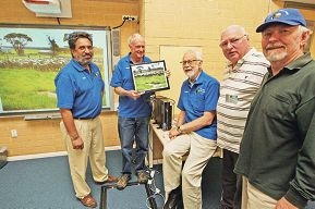 Men's Shed members Reg Luther, Bob Allen, Tony Wallis, Bill Roberts and Barry Fitzsimmons. Picture: Bruce Hunt d426244