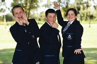 Public speaking contest winners (from left) James Clarke, Connor Pike and Utariah Clarke.www.communitypix.com.au d426339
