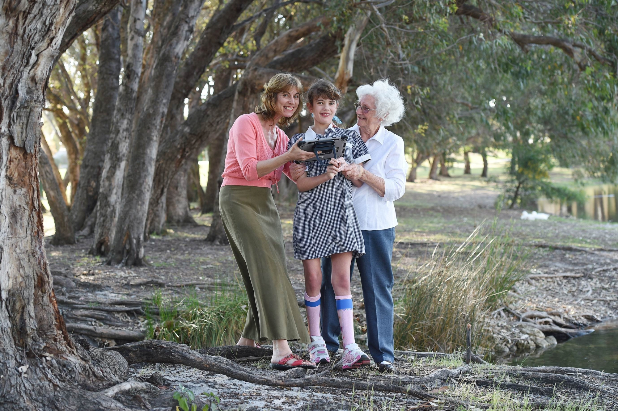 Kimberley Connell with her mother Helen and grandmother Marie Connell. Picture: Marcus Whisson d426181