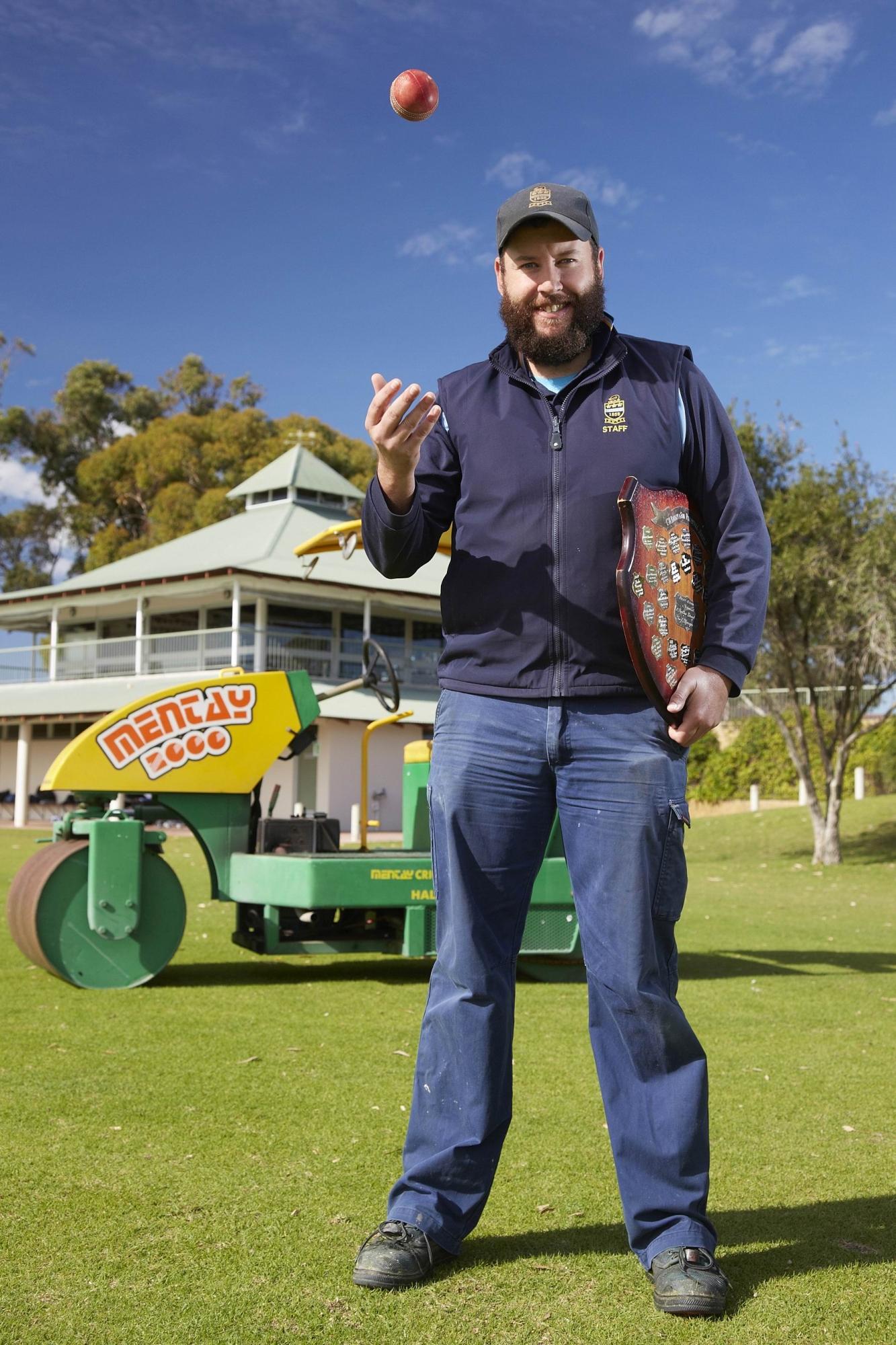 Hale School cricket |curator Luke Cooney.