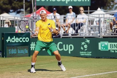 Sam Groth at the Davis Cup in Cottesloe. Pictures: Andrew Ritchie d426185