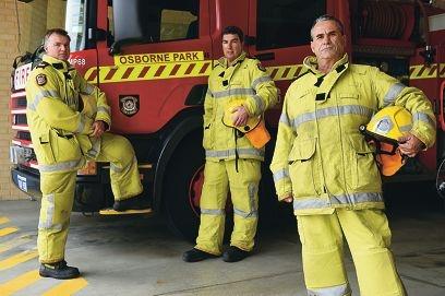 Osborne Park senior firefighters Darren Rickert, Steve Connor and Jim Elias.