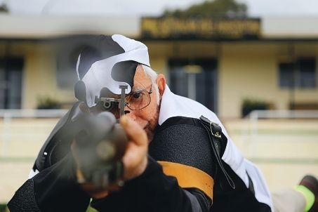 Jim Moore at Swanbourne Rifle Range. Picture: Andrew Ritchie d426068