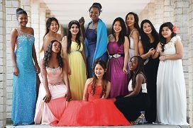 Balga Senior High School Year 11 and Year 12 students model their donated ballgowns. Picture: Marcus Whisson d425867