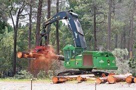 A logging machine fells trees beside Gnangara Road.|Picture: Bruce Huntd426123