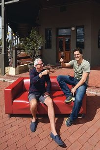 New owners of the Bassendean Hotel Vincent Lee and Stefano Rossi. Picture: Marcus Whisson d426045