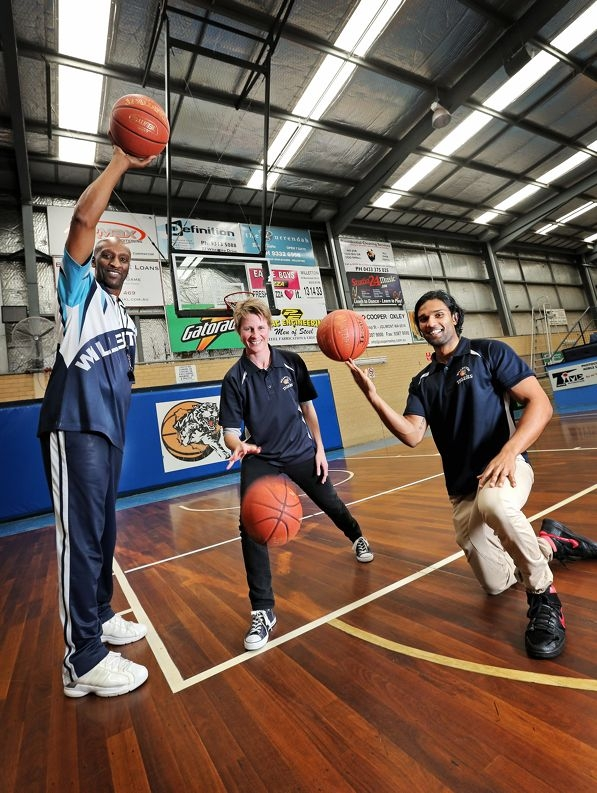 Willetton Basketball Association administration manager Maria McAdam, stadium manager Jeff Anderson and competition support officer Darsh Clarke. Picture: David Baylis d426020