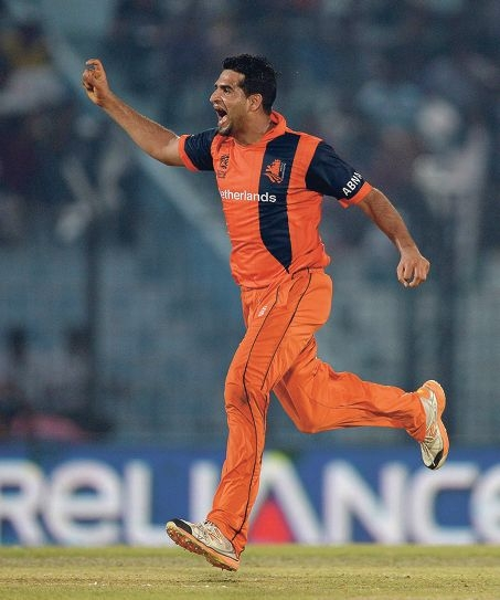 Mudassar Bukhari celebrates a wicket against England in March. Picture: Getty Images