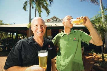 Matso's Broome Brewery director Justin Wiebrecht and head brewer Marcus Muller. Below: Some of the products from Matso's Brewery. Pictures: Andrew Ritchie www.communitypix.com.au d425887