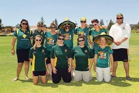 Joondalup District Cricket Club's women's team celebrating grand final day.