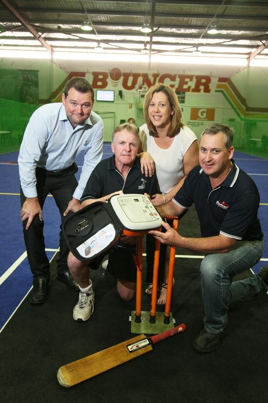 Glen Charles, of Ebos Healthcare, and Rob Poulter with Bouncer Sports Centre's Terri Hollows and Jamie Bondini. Picture: Bruce Hunt d426254