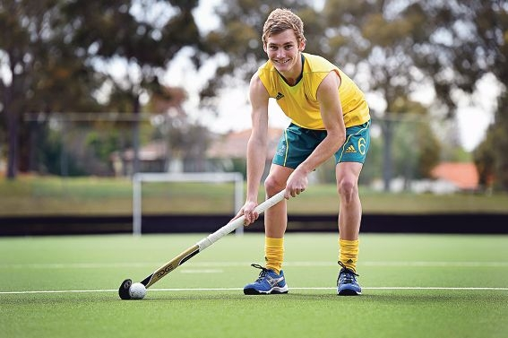 Hale School Year 12 student Alec Rasmussen won gold at the Summer Youth Olympics Hockey 5s in Nanjing, China. Picture: Marcus Whisson www.communitypix.com.au d425641