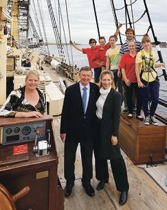 CEO of the Leeuwin Ocean Adventure Foundation Anne-Marie Archer with Malcolm and Tonya McCusker and volunteers Daniel Ryan, Erika Delemarre, Woodren Bourne, Slaven Roje, Alison Coumbe and Nora Kajamaa. Picture: Martin Kennealey d425423