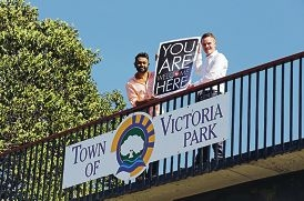 Welcome to Australia WA director James Jegasothy and Victoria Park councillor Brian Oliver welcome zone refugees. Picture: David Baylis d425726