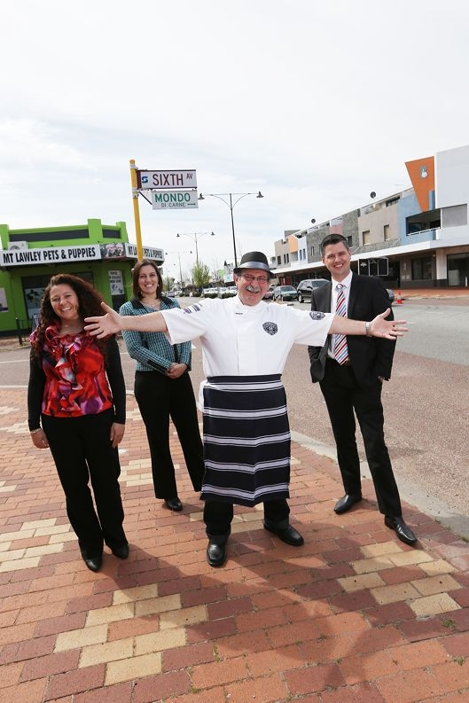 Local business woman Joya Varrasso with Tamara Radi, from Radi Estates, Vince Garreffa, from Mondo |Butchers and Stuart Weston, from Stuart Weston Real Estate. Inset: The Inglewood on Beaufort logo.