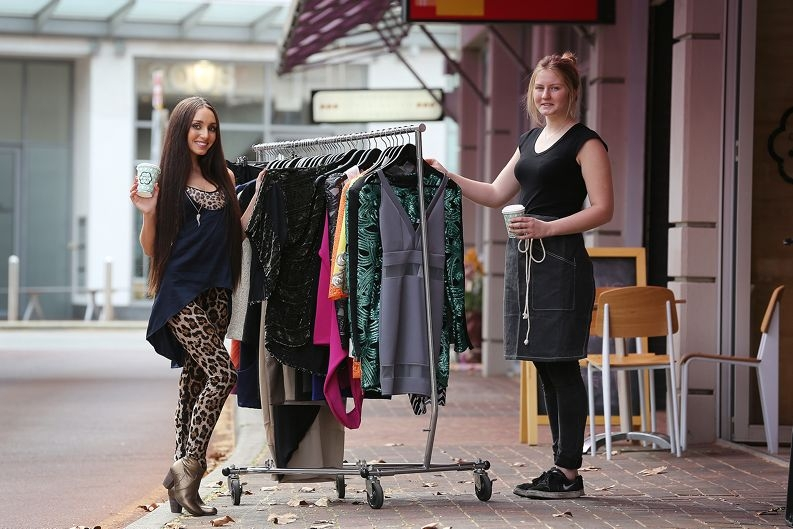 Avion calling: Elle Gleeson and Ellie Green of Avion Way businesses Lost Souls and Cookie Dough respectively are excited about plans for the road to be developed into a more pedestrian-friendly place. Picture: Andrew Ritchie www.communitypix.com.au d425800