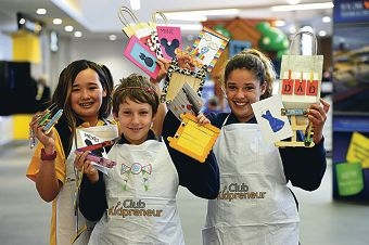 Bassendean Primary School students, from left, Strawberry Osaki (Year 7), Patrick Knox (Year 6) and Jayde McEwan (Year 6) with some of their craftwares [NAMES OK]