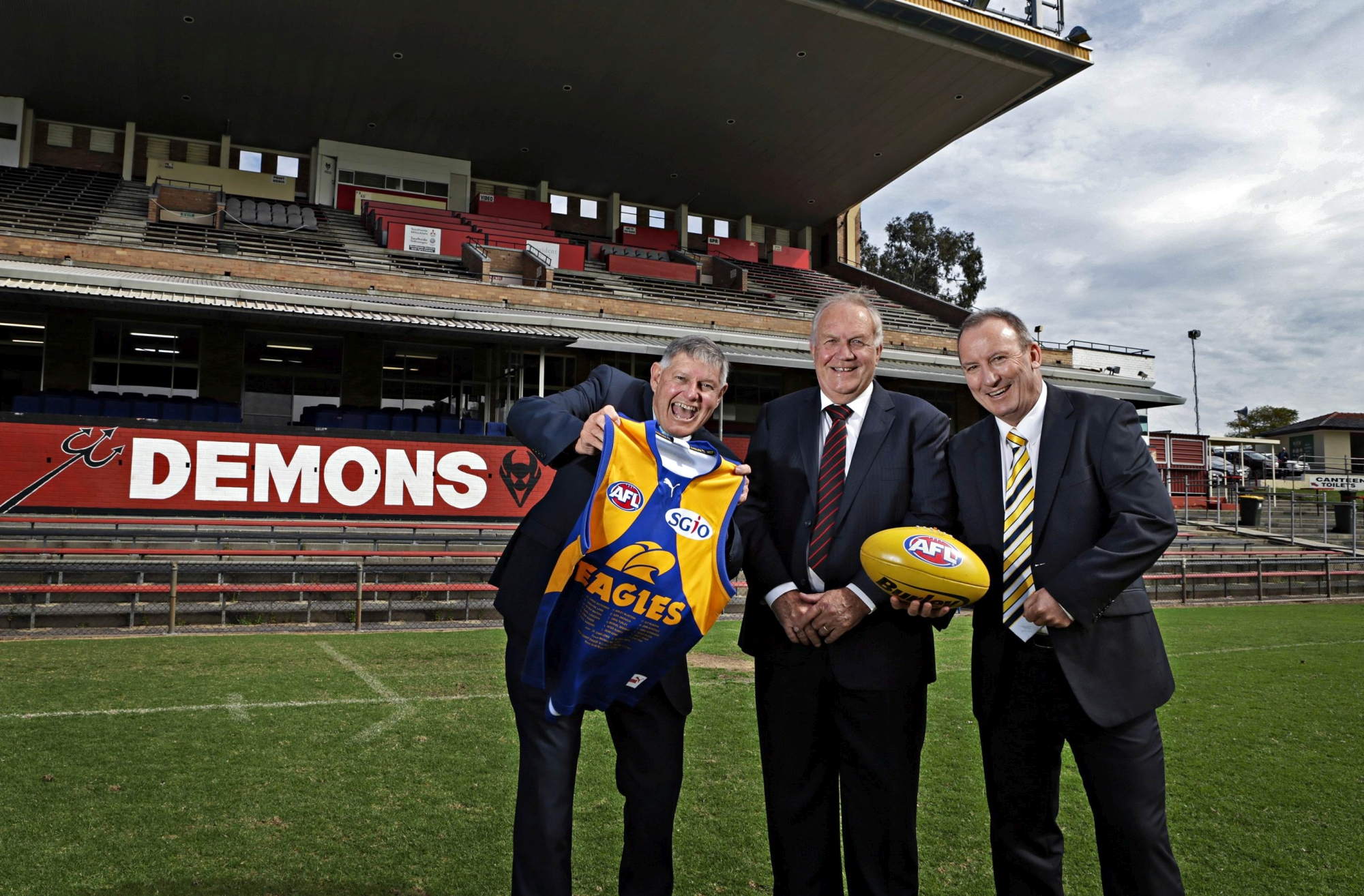 Victoria Park Mayor Trevor Vaughn, Perth Demons president Vince Pendal and West Coast CEO Trevor Nisbett. Picture: Elle Borgward d425665