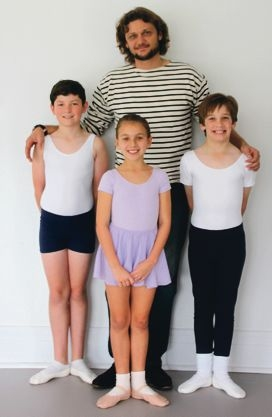 WA Ballet artistic director Aurélien Scannella with Oliver Harper, Carys Barrett and Jeryn Huntley.