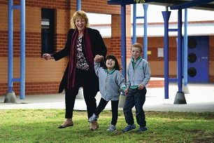South Ballajura Education Support Centre principal Cheryl Lennox with students Grace and Lachlan. Picture: Marcus Whisson