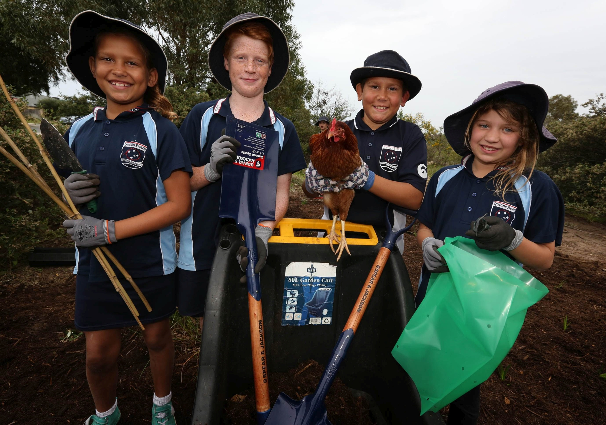 Students Paige Nannup, Byron Sherwood, Tyrell Nannup and Jess Wiltshire. Picture: Matt Jelonek d425444