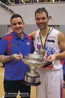 Head coach Adam Forde with captain Drew Williamson hold the cup after their win. Picture: Serene Maisey