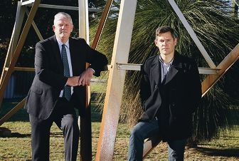 Cockburn Mayor Logan Howlett and Fremantle Mayor Brad Petit photographed at the border of all three local governments; Melville, Fremantle and Cockburn.