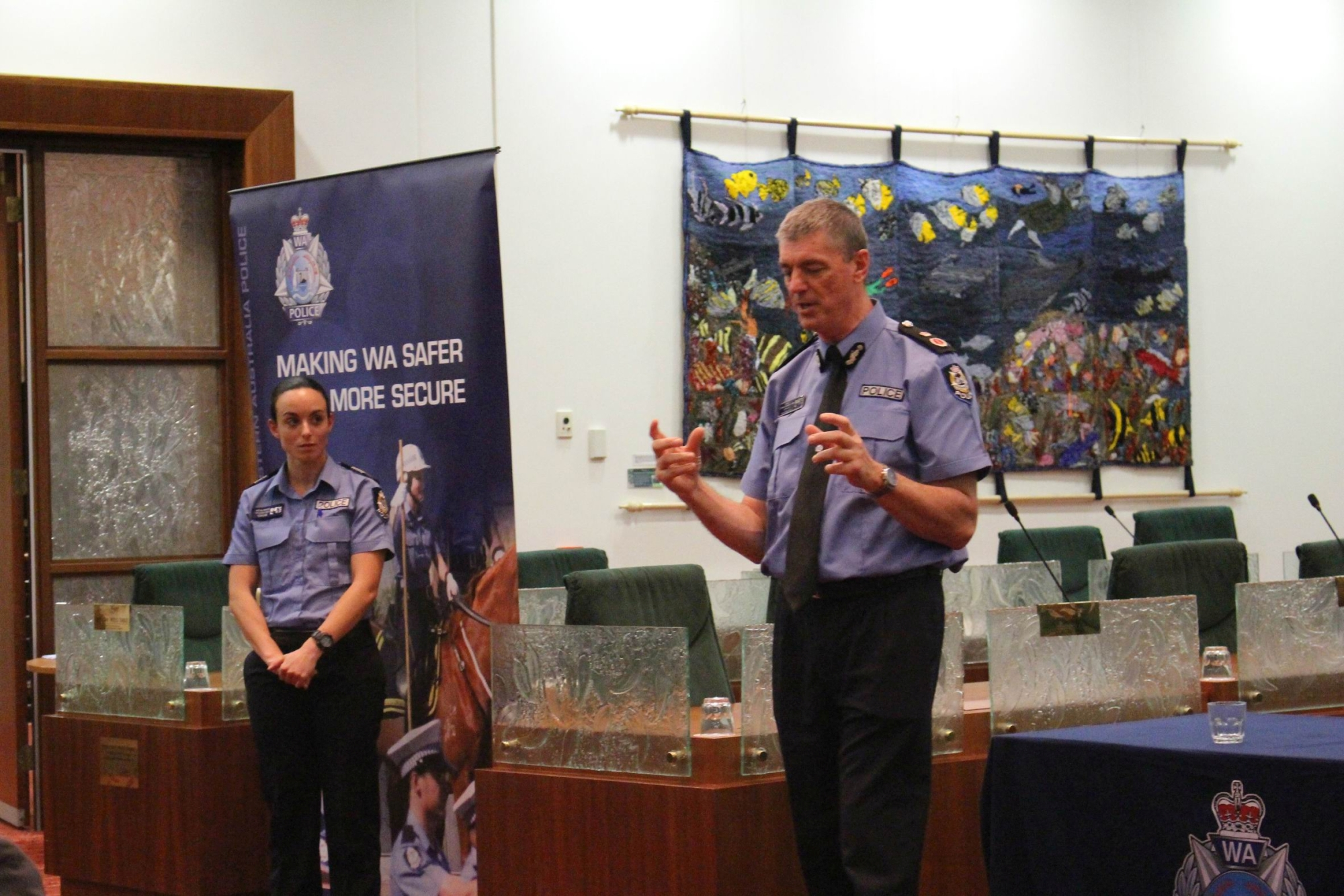 Karl O'Callaghan speaking at the Wanneroo Council Chambers last week.