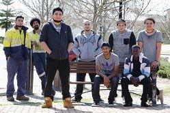 Javier Franco, at front, with Nestor Franco, Ravon Ritchie, Dan Sheikh, |Wesley Naidoo, Shaun Baptista, Caleb Pepulani and Jackson Marsh.