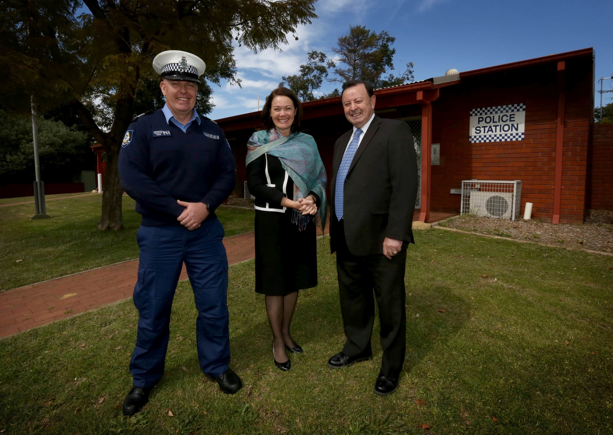 Sgt John Browne, Police Minister Liza Harvey and local member Frank Alban at Mundaring Police Station.