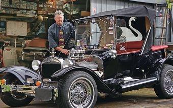 West Coast Street Rod Club president Neil Gibb with a 1923 Ford T Bird.