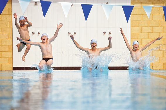 Hale School students Charlie Hede, Oliver Porteus, Thomas White and Alex Felton take the plunge.