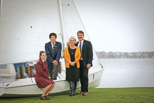 St Mary's Anglican School for Girls student Karli Jeffry with Christ Church Grammar School student Julian Ming and Christ Church chaplain Richard Pengelley and wife Jo. Picture: Andrew Ritchie www.communitypix.com.au d424966