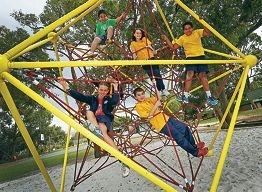 Cool equipment: Students Maladji, Kim, Romy, Cassidy, Christina and Katana on the igloo net. Picture: Matt Jelonek d424791