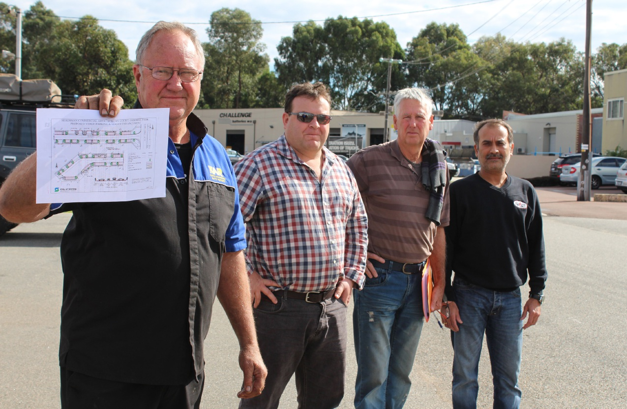 Burgay Court business owners Keith Adamson, Tony Lovegrove, Laurie Healy and Kash Bajaria.