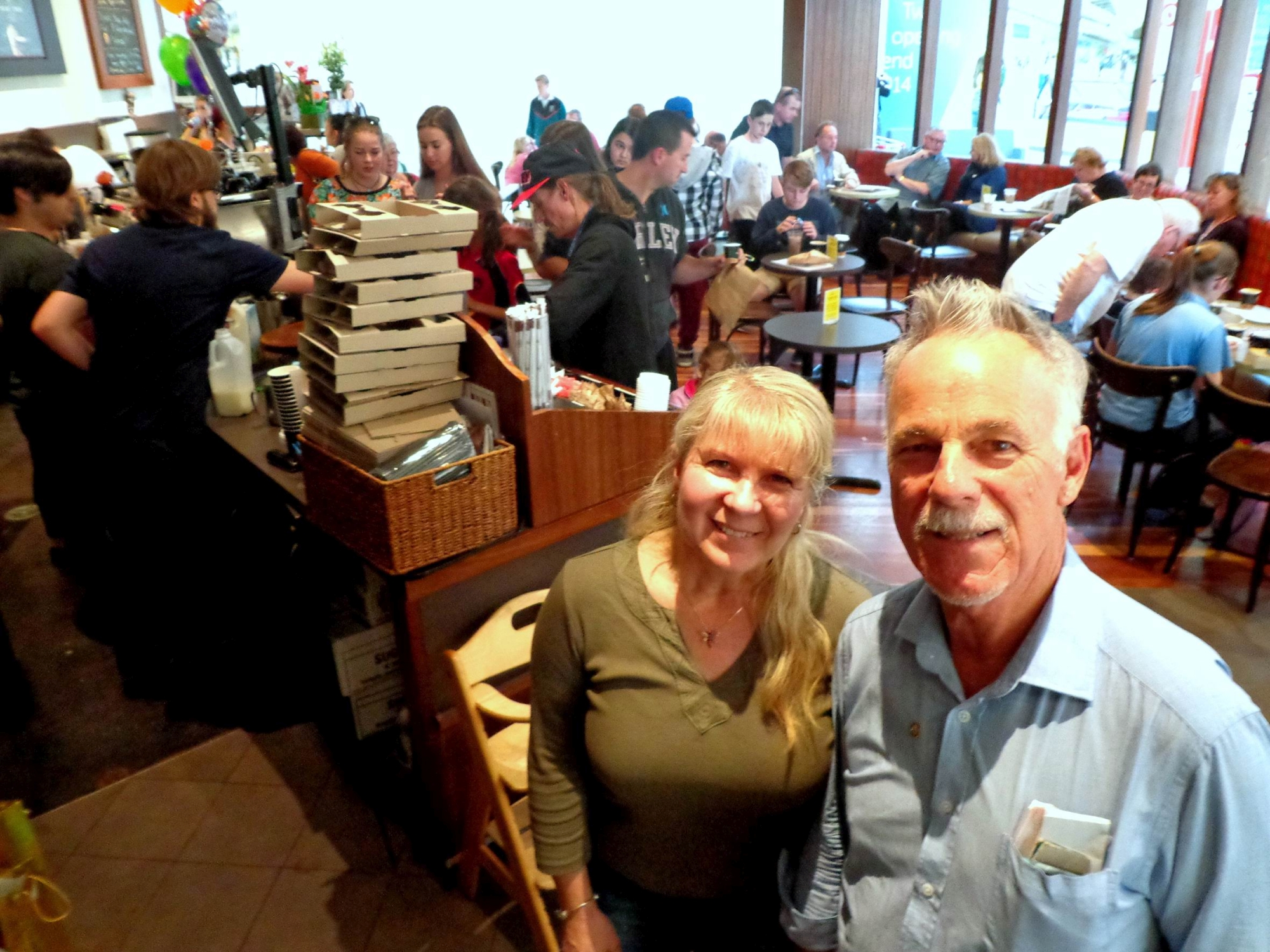 Julie Macfarlane with Brian Baily who served free coffees on the last day.