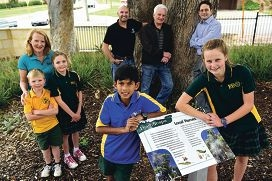 In the foreground, from left, are Lake Gwelup Primary School environment officers and Year 6 students Aaron Heldt and Emma Telfer with, from left, science coordinator Miriam Neates and students Cole (Year 2) and Alyssa Letich (Year 4), parent Paul Letich, environment consultant Keith Brown and parent Romeo DiGirolamo [NAMES OK]