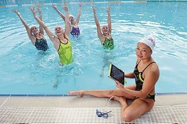Deborah Tsai (Bullcreek) with fellow synchronized swimmers, from left, Danielle ten Vaanholt (Southern River), Rose Stackpole (Highgate), Danielle Kettlewell (Mount Hawthorn) and Amie Thompson (Highgate) [NAMES OK]