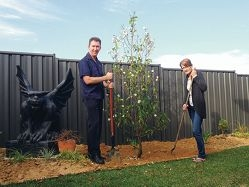 Roger and Julie Cull with their new trees.
