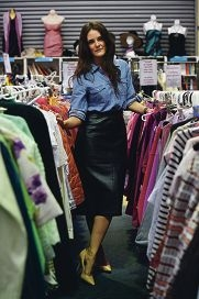 Fashion blogger Jenelle Witty at Vinnies. Picture: Marcus Whisson d425037