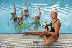 Deborah Tsai with fellow synchronised swimmers, from left, Danielle ten Vaanholt, Rose Stackpole, Danielle Kettlewell and Amie Thompson. Picture: Marcus Whisson www.communitypix.com.au d424105