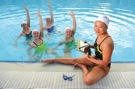 Deborah Tsai with fellow synchronised swimmers Danielle ten Vaanholt, Rose Stackpole, Danielle Kettlewell and Amie Thompson. Picture: Marcus Whisson