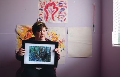 Shelley Marcolina with one of her artworks. Picture: Martin Kennealey www.communitypix.com.au d424779