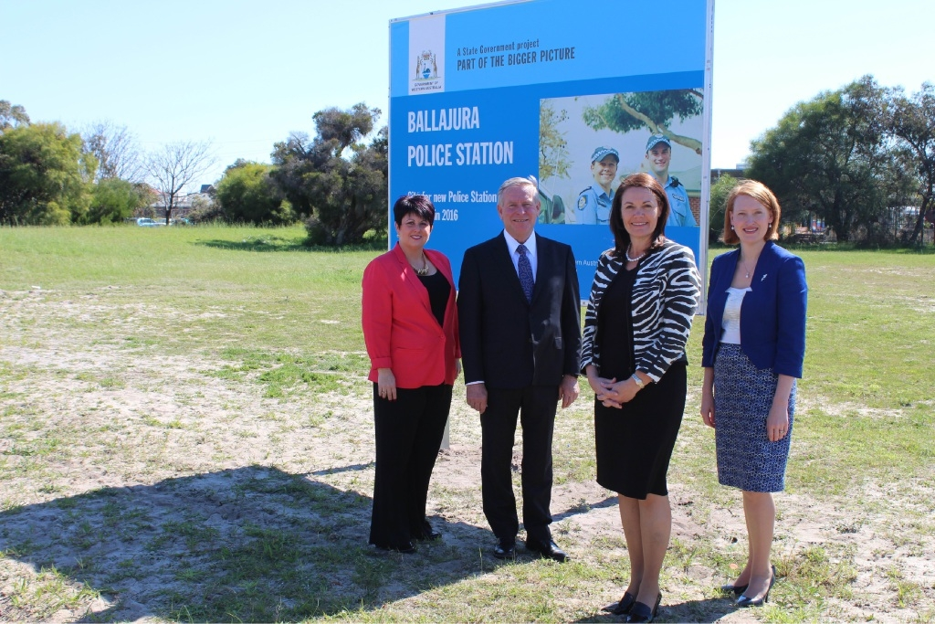East Metropolitan MLC Alyssa Hayden, Premier Colin Barnett, Police Minister Liza Harvey and East Metropolitan MLC Donna Faragher at the new Ballajura police station site. Picture: Lauren Pilat