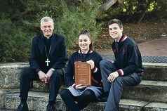 Archbishop Timothy Costelloe with Prendiville Catholic College students Cheanne Young and Greg Corrigan. Picture: Emma Goodwin
