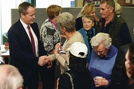 Opposition leader Bill Shorten meets seniors at the Bedford Bowling Club.