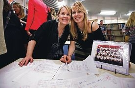 Schoolmates and still mates: Julie Gaze and Shannon Burry.