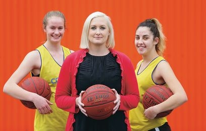 Sports science lecturer Fleur McIntyre with Cockburn Cougar players Jenna Wilson and Nicole Pitcher (both 18).